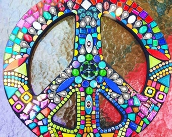 """CUSTOM PEACE Sign - 16"""" Round - Custom Order in Your Colors - Glass Gems, Stones, Beads, Ceramic, Glitter Tile, Silver Embellishments - OOAK"""