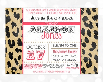 cheetah baby shower  etsy, Baby shower invitations