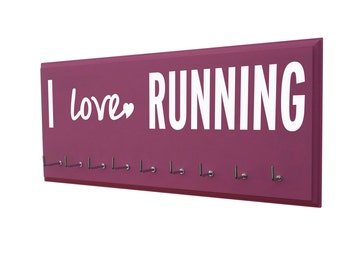 Running, medal rack: I love RUNNING, running medal holder, running medal display, running medal rack, wooden wall mounted awards holder