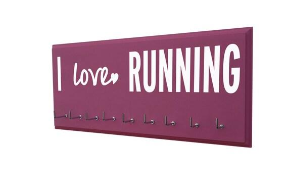Running, medal rack: I love RUNNING, running medal holder, running medal display, running medal rack, wooden wall mounted awards holder