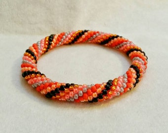 Halloween Spiral Seed Bead Crochet Bangle - Ready to Ship