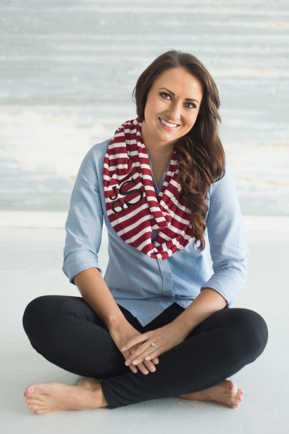 Garnet Striped Infinity Scarf