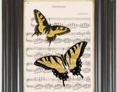 COUPON SALE Swallowtail butterfly Insect print Yellow Dictionary art print Sheet music book print Digital art print Wall decor Item No 2011