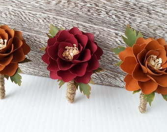 Paper Flower Boutonniere - Buttonhole -  Fall Weddings - Rustic Weddings - Country Style Weddings - Woodland - Bohemian - Color Choices