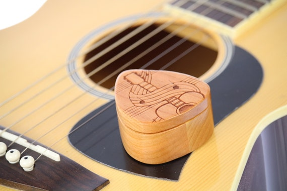 "Swirl Guitar Pick Box, 2-1/4"" x 2"" x 1"" d, Pattern G33 deep, Solid Cherry Hardwood, Laser Engraved, Paul Szewc, Masterpiece Laser"