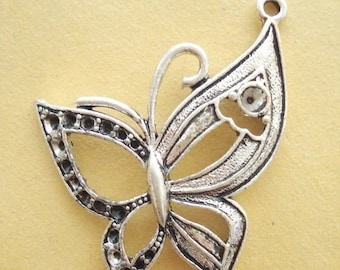 50% OFF Moving Sale - One Large Butterfly (50x40mm) Antiqued Pewter Charms Pendant B-80