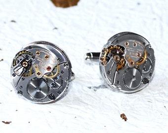 LONGINES Men Steampunk Watch Cufflinks - GENUINE Swiss Silver High Grade Vintage Watch Movement Steampunk Watch Cufflinks Cuff Link Men Gift