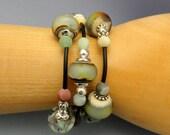 Lampwork Bracelet, Wrap Bracelet, Flamework Beads, Organic Wrap Bracelet, Emerald City Art Glass, Marcie Page