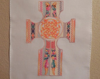 Celtic Knots Cross Cross-Stitched Picture