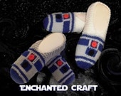 R2-D2 Slippers- hand knitted and inspired by Star Wars