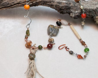 Mixed Stone Hippie Necklace Boho Chic Hemp tassle Pendant Paper clip assorted Stones Prehenite - the Rustic Path - Art Jewelry by Ardent