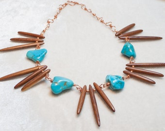 Turquoise Necklace with Wood Spikes on Copper Wire Boho Chic Tribal Feel Chunky Necklace - At the End of the Rainbow - Art Necklace