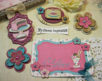 Bo Bunny Sweet Tooth Handmade Paper Embellishments and Paper Flowers for Scrapbooking Cards Mini Albums and Papercrafts