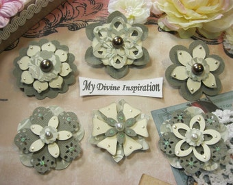 Light Gray and Ivory Wedding Paper Embellishments and Paper Flowers for Scrapbooking Cards Mini Albums Tags and Paper Crafts