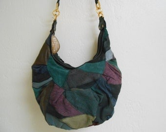 Vintage 1980s DEADSTOCK NWT suede patchwork multi-compartment oversized crossbody bag