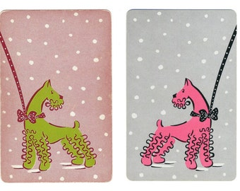POODLES in the SNOW (2) Vintage Single Swap Playing Cards Paper Ephemera Scrapbook