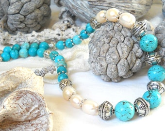 turquoise bohemian necklace turquoise necklace boho necklace stone necklace pearl necklace freshwater pearl necklace