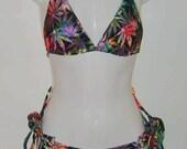 Mota tye dye weed hippie tye dye pot leaf bikini with tie side bottoms