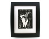Cat linocut print, Tails Up, smiling cat, black and white, walking kitty, linoleum block print , relief print , cat lover, loss of a pet