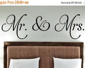 Mr. & Mrs -Vinyl Lettering wall decals words wedding gift family friends decal graphics sticker love bedroom Home decor itswritteni