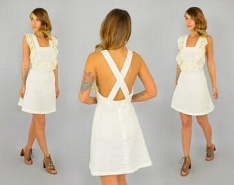 70's Seersucker Jumper Dress