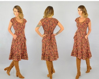 WINTER SALE 70's Fall Foliage Dress