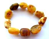 "Baltic Amber Bracelet Raw Chunky Unpolished Beads Natural 8"" 23.9 gram"