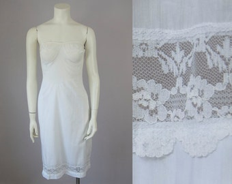 1960s Vintage Sheer White Lace Cotton Blend Strapless Slip (XS; 32 Chest)