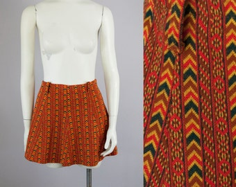 60s 70s Vintage Knit Flare Southwestern Mini Skirt (S, M)
