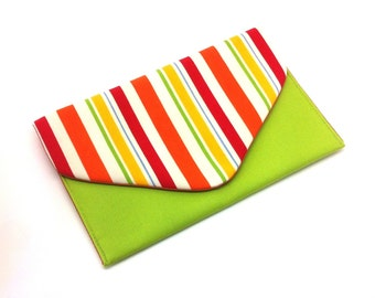Multi-Striped Envelope Clutch Bag Coin Purse Wallet Green Orange Yellow Gift for Women Cotton Magnetic Snap