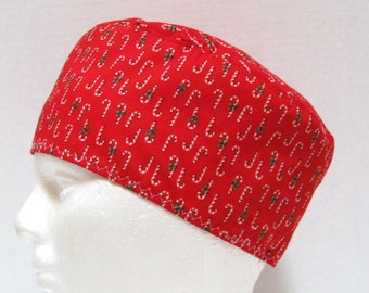 Red Mens Christmas Scrub Hat, Surgical Cap or Chefs Skull Cap Candy Cane Lane