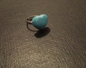 Blue Glitter Heart Adjustable Ring