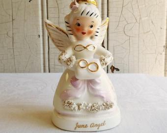 Vintage Napco June Birthday Angel - Wedding Rings on Ringbearer Pillow - Made in Japan - Mid-Century 1950s - Bridal Shower - Cake Topper