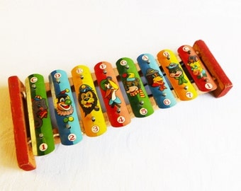 Vintage Toy Xylophone - Anthropomorphic Animals and a Clown - Great Color Lithos - Mid-Century 1960s