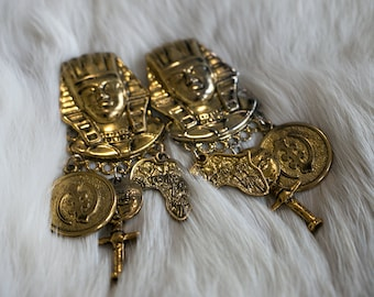 Vintage 1980's Egyptian Chunky Gold Earrings Cleopatra Egypt Hipster/Retro Women's Earrings Jewelry Accessories