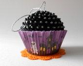 SALE Trick or Treat Halloween Fake Cupcake Sequin  Ornament
