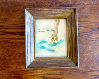 Vintage Framed Watercolor Winter Tree
