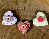 Ceramic Heart Magnet Trio By Twinkle Jewellery - Spot Set, Shabby Chic, Love, Kitsch, Retro
