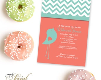 Bird Baby Shower Invitation with Chevron Coral and Turquoise Printable Invitation Gender Neutral
