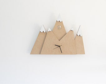Mountains modern wall clock, brown and white unique clock, wooden clock, kitchen clock, hostess gift, christmas gift