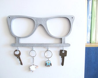 Key hook, silver wall key holder, decorative key hook, decorative  wall hook, vintage glasses wall hook