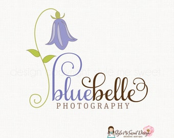 bluebell logo design flower logo design floral logo design florist logo design photography logo graphic design premade logo design watermark