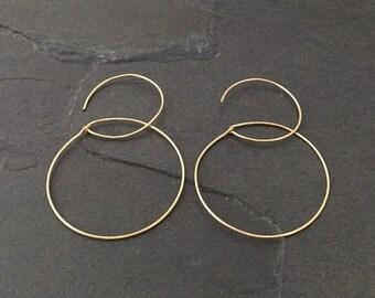 Gold large hoop earrings minimalist dainty jewelry; Modern Hoops