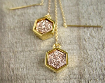 Rose Gold Druzy Earrings, Threader Earrings, Druzy Earrings, Druzy Quartz Jewelry, 14K Gold Fill Threaders