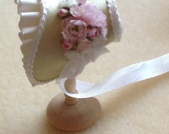 Pale green satin silk shaped bonnet handmade 1/12th scale dollhouse miniature