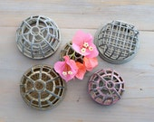 Vintage Cage Style Flower Frogs, Lot of 5