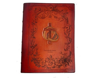 Custom Handcrafted Leather  Wedding Bible with  Family History section and added guest pages, NKJV
