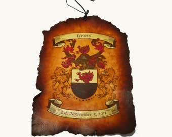 Coat of Arms Leather Scroll