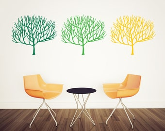 Trees wall decal, set of three different color tree wall decals