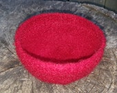 Felted Wool Bowl in Burgundy
